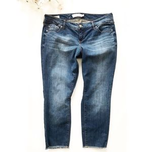 Torrid Boyfriend Frayed Hem Cropped Blue Jeans